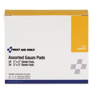 "First Aid Only FAOI228 Gauze Pads, 2"" x 2""; 3"" x 3"", 48/Box"