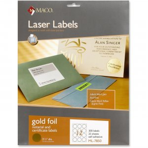 Maco ML-7850 Laser Gold Foil Notarial & Certificate Labels