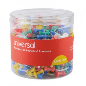 "Genpak UNV31314 Colored Push Pins, Plastic, Assorted, 3/8"", 400/Pack"