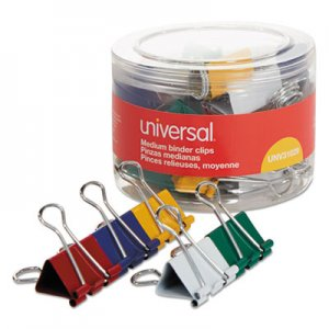 Universal UNV31029 Binder Clips in Dispenser Tub, Medium, Assorted Colors, 24/Pack