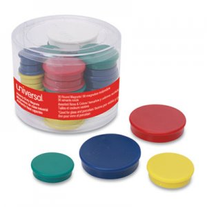 Universal UNV31251 Assorted Magnets, Assorted Sizes, Assorted Colors, 30/Pack