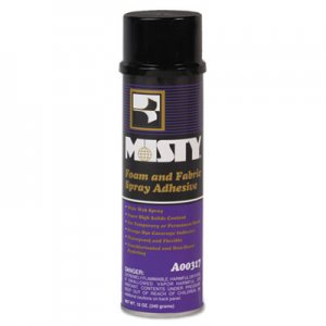 MISTY AMR1028374 Foam and Fabric Spray Adhesive, 12 oz, Dries Clear, 12/Carton