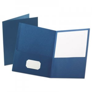"Oxford OXF57572 Leatherette Two Pocket Portfolio, 8 1/2"" x 11"", Blue, 10/PK"