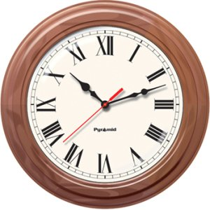 Pyramid S9A6AKGBXW TimeTrax Sync 16in Analog Clock - Walnut Wood Roman Numeral Face