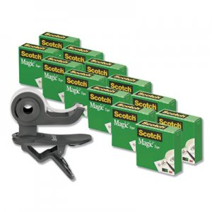 "Scotch MMM810K12C19 Clip Dispenser Value Pack, 1"" Core, Charcoal, Plus 12 Tape Rolls 3/4"" x 1000"""