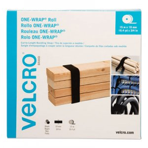 "VELCRO Brand VEK30640 ONE-WRAP Cut-To-Fit Standard-Ties, 0.75"" x 49 ft, Black"