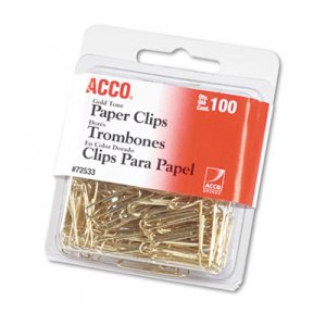 "ACCO 72533 Paper Clips, Metal Wire, #2, 1 1/8"", Gold Tone, 100/Box"