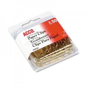 "ACCO 72532 Paper Clips, Metal Wire, Jumbo, 1 3/4"", Gold Tone, 50/Box"