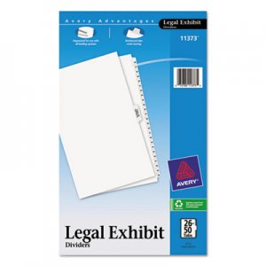 Avery AVE11373 Avery-Style Legal Exhibit Side Tab Divider, Title: 26-50, 14 x 8 1/2, White