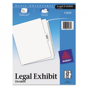 Avery AVE11372 Avery-Style Legal Exhibit Side Tab Divider, Title: 26-50, Letter, White