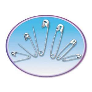 Charles Leonard 83450 Safety Pins, Nickel-Plated, Steel, Assorted Sizes, 50/Pack