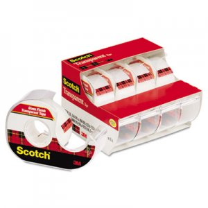 "Scotch MMM4184 Transparent Tape & Handheld Dispenser, 3/4"" x 850"", 1"" Core, Clear, 4/Pack"