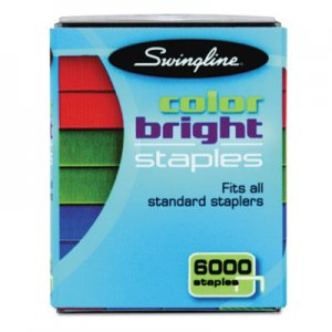 Swingline SWI35123 Color Bright Staples, Assorted Colors, Blue, Red, Green, 6000/Pack