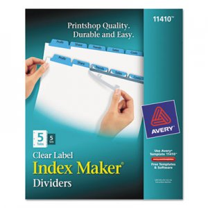 Avery 11410 Print & Apply Clear Label Dividers w/Color Tabs, 5-Tab, Letter, 5 Sets